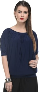 Mayra Casual Short Sleeve Solid Women's Blue Top