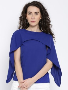 Popnetic Casual Bell Sleeve Solid Women's Blue Top