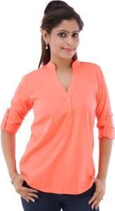 fashionadobe Casual 3/4th Sleeve Solid Women's Orange Top