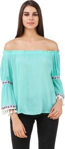 BrandMeUp Party 3/4th Sleeve Solid Women's Light Blue Top