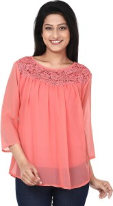 Anam Export Casual 3/4th Sleeve Solid Women's Pink Top