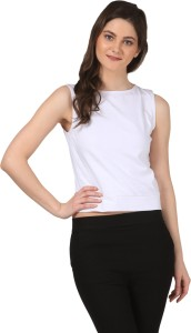 Fashion Expo Casual Sleeveless Solid Women's White Top