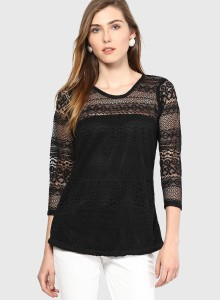 Mayra Party 3/4th Sleeve Self Design Women's Black Top