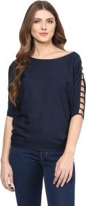 Calgari Casual 3/4th Sleeve Solid Women's Blue Top