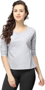 Campus Sutra Casual 3/4th Sleeve Solid Women's Grey Top