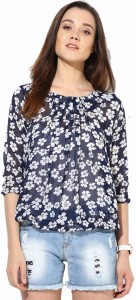 Mayra Party 3/4th Sleeve Printed Women's Blue Top