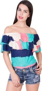 Khhalisi Casual Cap Sleeve Printed Women's Multicolor Top