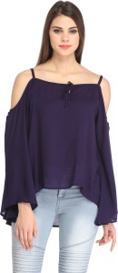 Cation Casual Butterfly Sleeve Solid Women's Dark Blue Top