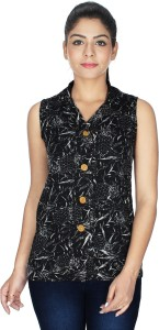 Crease & Clips Casual Sleeveless Graphic Print Women's Black Top