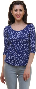 Vvoguish Casual 3/4th Sleeve Printed Women's Blue Top