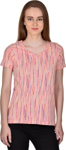 Rute Casual Short Sleeve Striped Women's Orange Top