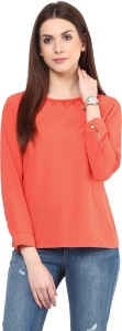 Rare Casual 3/4th Sleeve Solid Women's Orange Top