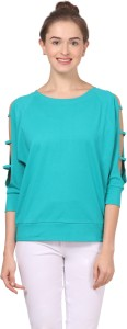 Fashion Expo Casual 3/4th Sleeve Solid Women's Green Top