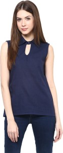 Krapal Casual Sleeveless Printed Women's Blue Top
