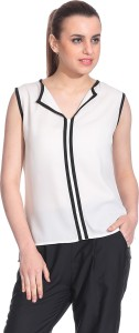 Rute Casual Sleeveless Solid Women's White Top