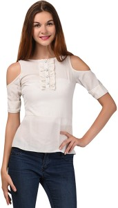 LA ATTIRE Casual Roll-up Sleeve Solid Women's White Top