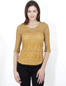Mayra Casual 3/4th Sleeve Self Design Women's Yellow Top