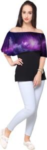 Ahalyaa Party Short Sleeve Printed Women's Black Top