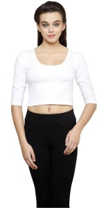 Finesse Casual 3/4th Sleeve Solid Women's White Top