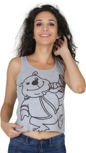Imagica Casual Sleeveless Printed Women's Grey Top