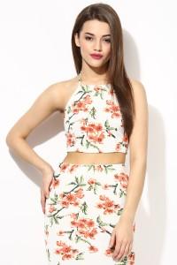 Veni Vidi Vici Casual Sleeveless Floral Print, Graphic Print Women's Beige, Orange, Green Top