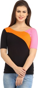Cation Casual 3/4th Sleeve Solid Women's Multicolor Top