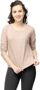 Campus Sutra Casual 3/4th Sleeve Solid Women's Brown Top