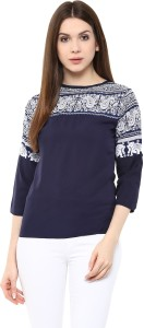 Mayra Casual 3/4th Sleeve Printed Women's Blue Top
