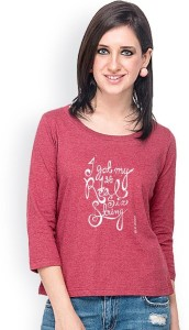 Campus Sutra Casual 3/4th Sleeve Printed Women's Maroon Top
