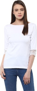 Miss Chase Party 3/4th Sleeve Solid Women's White Top