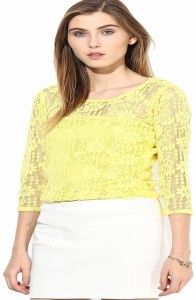 Mayra Party 3/4th Sleeve Printed Women's Yellow Top