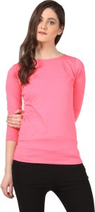 Fashion Expo Casual 3/4th Sleeve Solid Women's Pink Top