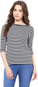 Miss Chase Party 3/4th Sleeve Striped Women's Black Top