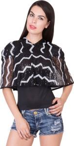 Khhalisi Party Cap Sleeve Printed Women's Black Top