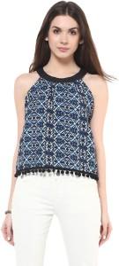 Zimaleto Casual Sleeveless Printed Women's Blue Top