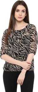 Mayra Casual 3/4th Sleeve Printed Women's Brown Top
