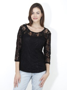 Mayra Casual 3/4th Sleeve Solid Women's Black Top