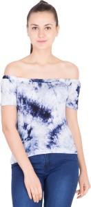 khhalisi Casual Short Sleeve Tie & Dye Women's White, Blue Top