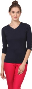 Fashion Expo Casual 3/4th Sleeve Solid Women's Blue Top