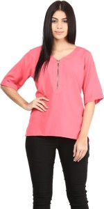 Mayra Casual 3/4th Sleeve Solid Women's Pink Top