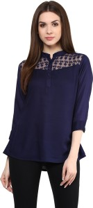 Mayra Party 3/4th Sleeve Solid Women's Blue Top