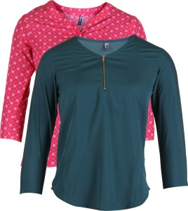 Vvoguish Casual 3/4th Sleeve Solid Women's Green, Pink Top