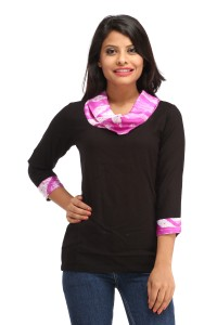 Cottinfab Casual 3/4th Sleeve Solid Women's Pink Top