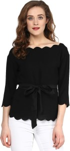Sassafras Casual 3/4th Sleeve Solid Women's Black Top