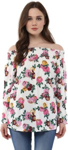 Harpa Casual Full Sleeve Floral Print Women's White Top
