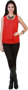 Belle Fille Casual Sleeveless Solid Women's Red Top