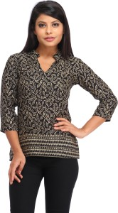 Cottinfab Casual 3/4th Sleeve Floral Print Women's Black Top