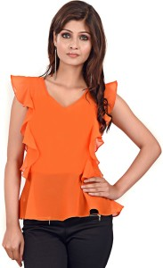 LA ATTIRE Casual Butterfly Sleeve Solid Women's Orange Top