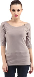 Cation Casual 3/4th Sleeve Solid Women's Grey Top
