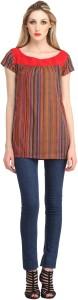 Cottinfab Casual Cap Sleeve Striped Women's Multicolor Top